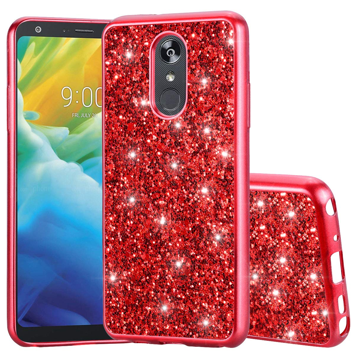 DAMONDY LG Stylo 4 Case,LG Stylo 4 Plus Case,LG Q Stylus Case,Bling Shiny Glitter Diamond Bumper Slim Flexible Soft Gel TPU Girls Women Protective Phone Case Back Cover for LG Stylo 4-red