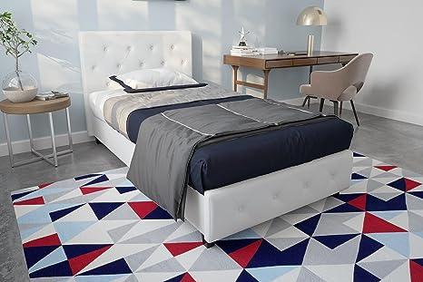 Amazoncom Dhp Dakota Faux Leather Upholstered Platform Bed Frame