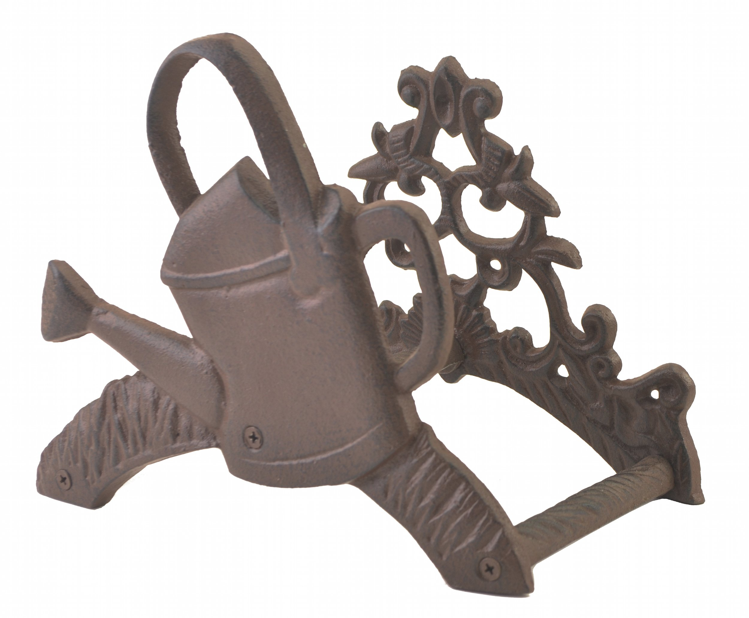 Cast Iron Garden Hose Holder Watering Can Design Hanger Reel 7.625'' Tall