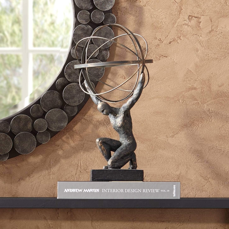 "Universal Lighting and Decor Atlas with Globe 17 1/4"" High Bronze Sculpture - Studio 55D"
