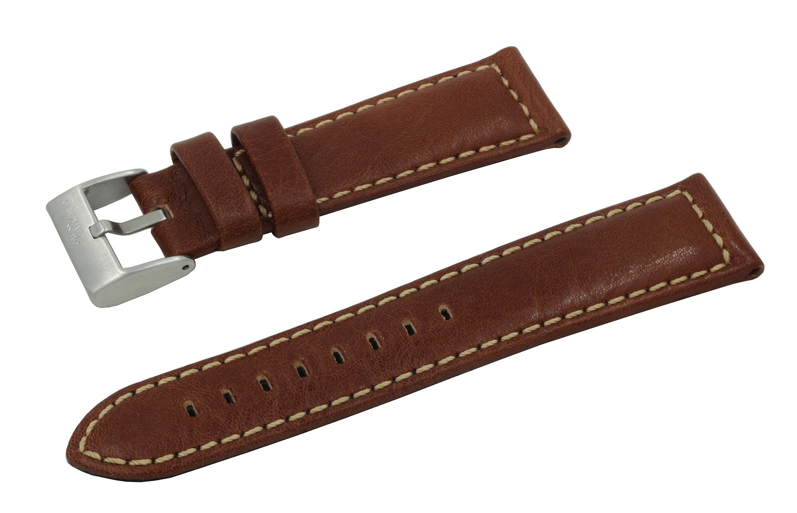 SWISS REIMAGINED 4 Colors Genuine Leather Quality Replacement Watch Band Strap - Tan by SWISS REIMAGINED