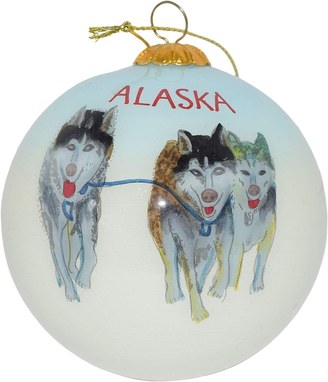Art Studio Company Hand Painted Glass Christmas Ornament -Three Husky Sled Dogs Alaska