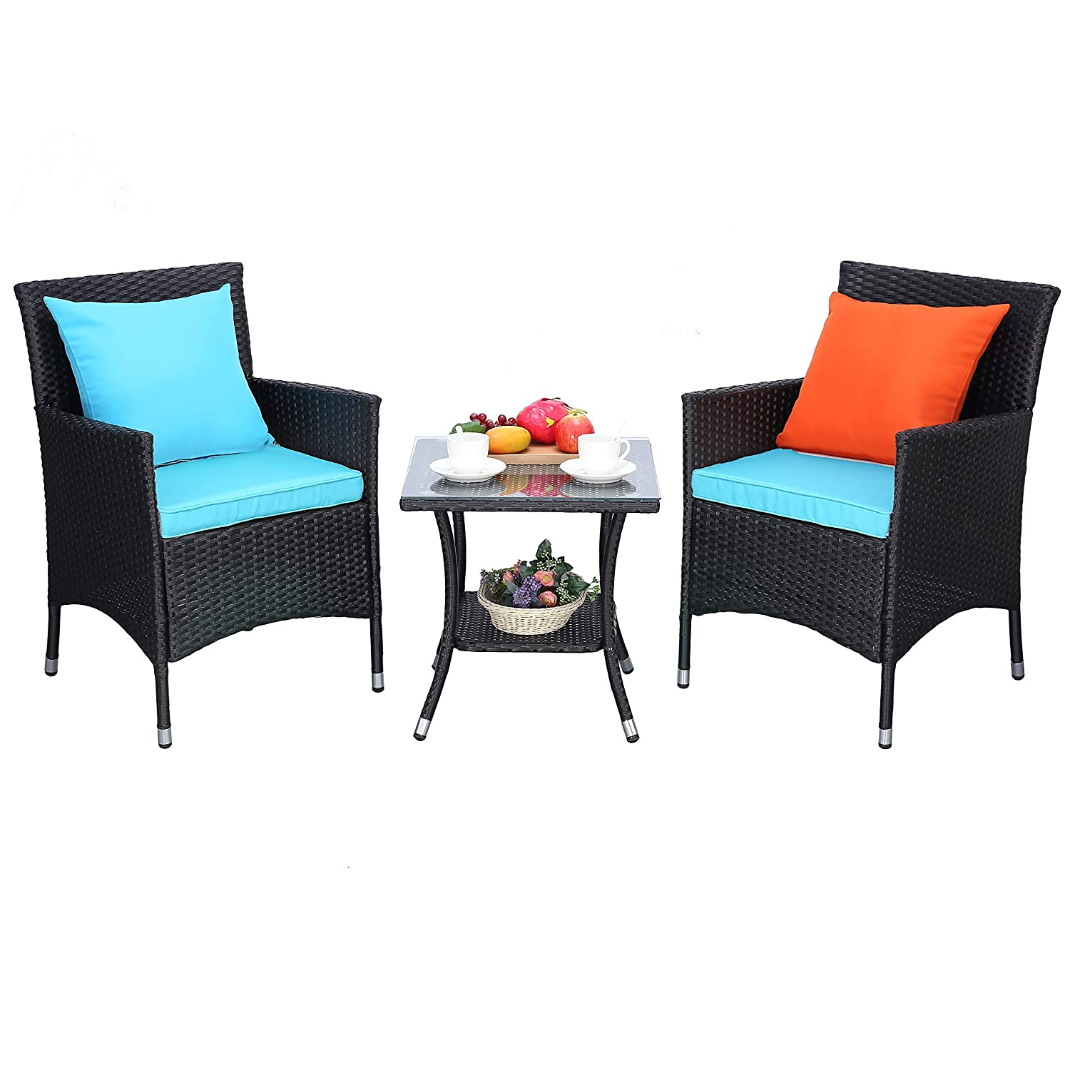 Do4U Outdoor Furniture Sets 3 Pieces Patio Wicker Bistro Set with Coffee Table Garden Lawn Dining Chairs Turquoise