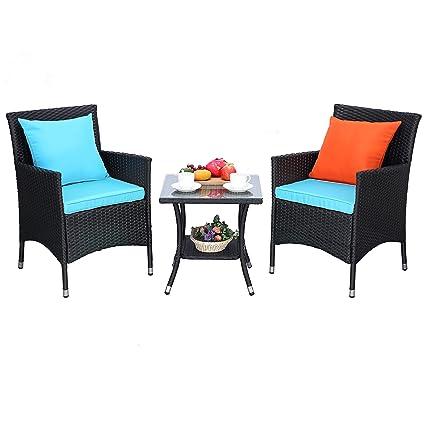 Amazon.com: Do4U Juego de 3 piezas de muebles de patio al ...