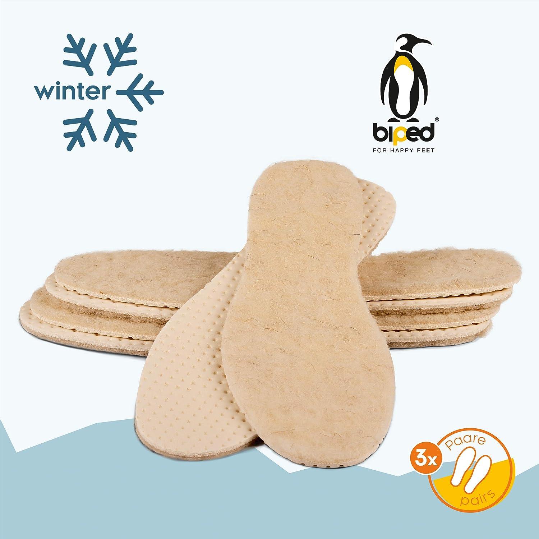 biped 2 paires de semelles thermiques pour enfants en laine d/'agneau v/éritable et dessous en aluminium z2692