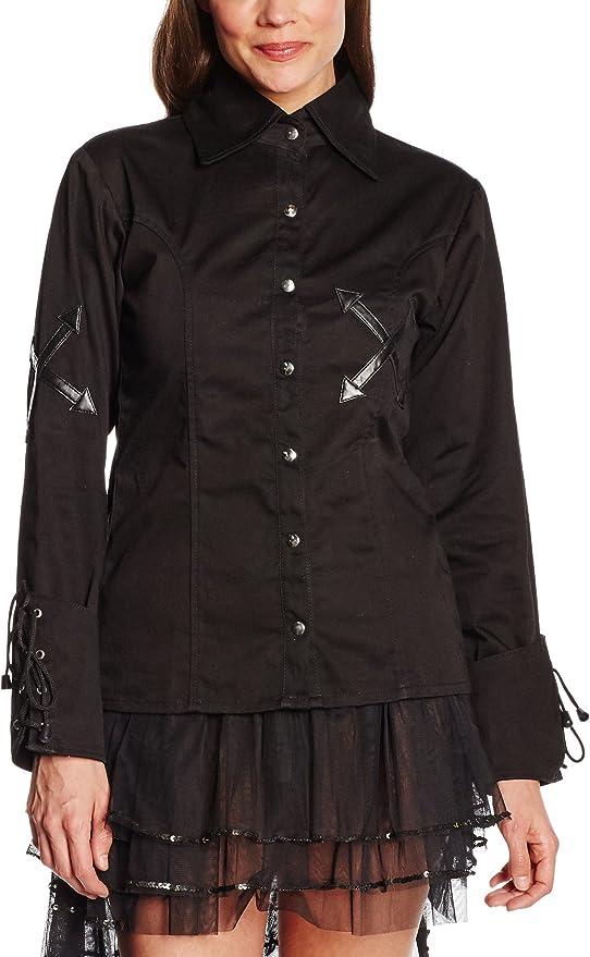 Camisa de manga larga celibato 14011405.008M Mujeres gótica de Steampunk, blusa cordón vuelta continua, M grande, negro: Amazon.es: Juguetes y juegos