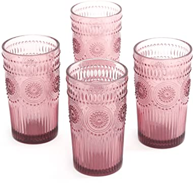 The Pioneer Woman Adeline 16-Ounce Emboss Glass Tumblers, Set of 4 - Plum