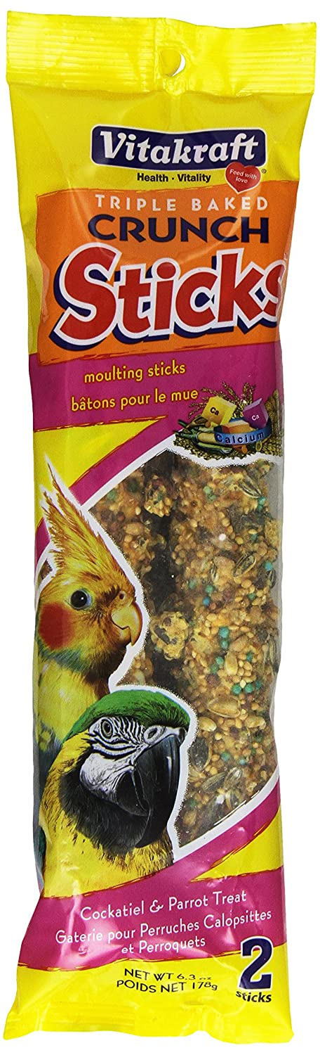 Vitakraft Moulting Treat Sticks for All Parrots and Cockatiels, 6.3-Ounce 21143