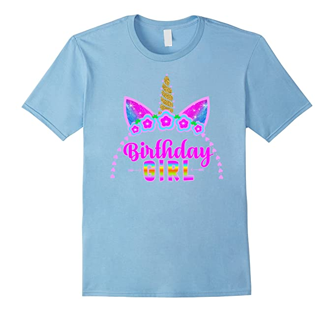 Mens Unicorn Its My Birthday Headband Hair Graphic T Shirt Kids 2XL Baby Blue