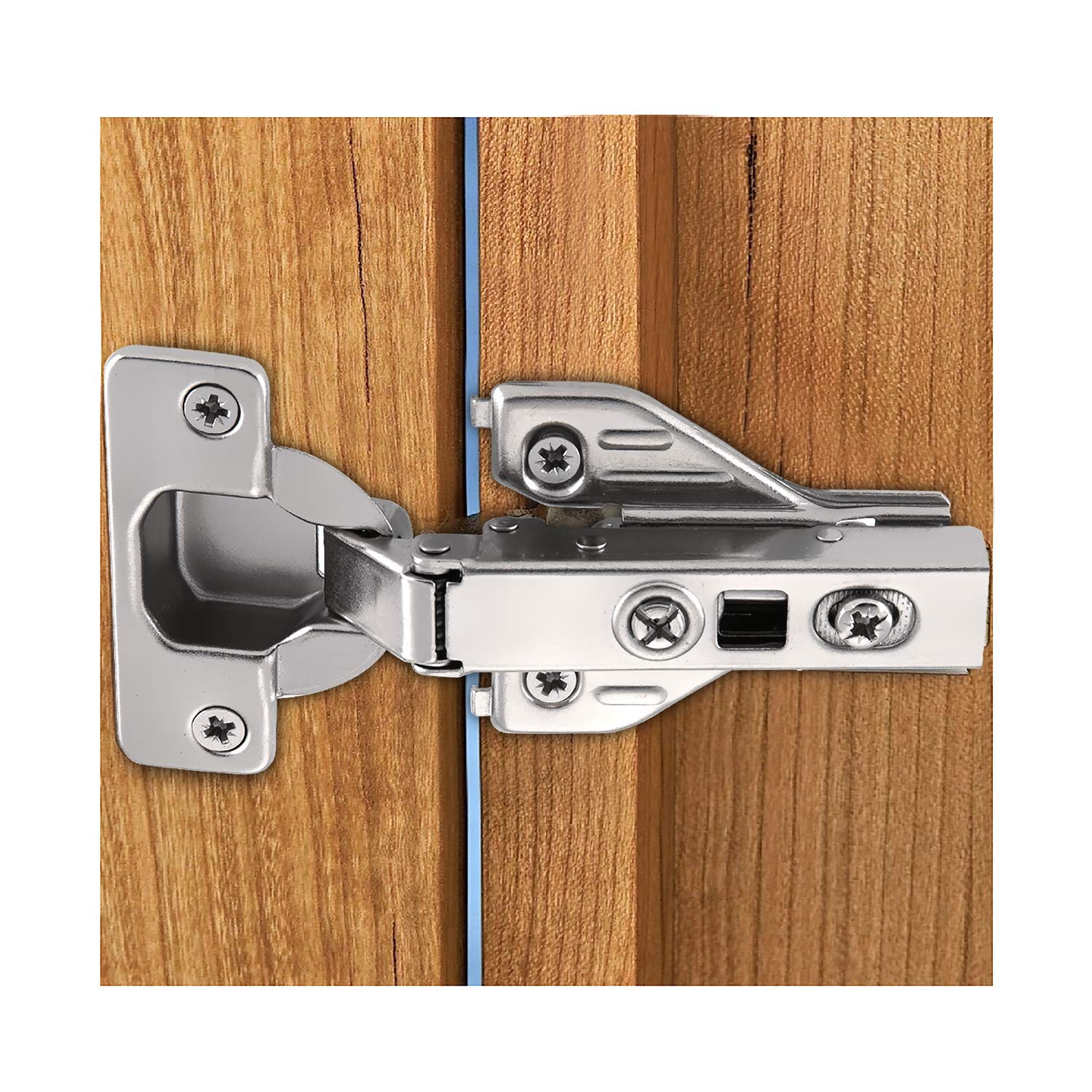 Luokim 4pcs Soft Opening Face Frame Mounting Concealed Hinges,Full Overlay,Kitchen Cabinet Door Hinges,Nickel Finish