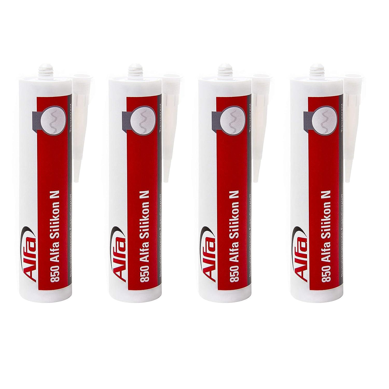 Alfa Bau-Silikon 300 ml, UV- und witterungsbestä ndiger Qualitä ts-Dichtstoff in den Farben grau/weiß /transparent (Weiß ) (1, Schwarz)