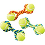 """Ethical Pets Tug Double Tennis Ball Dog Toy, 7"""", Assorted"""