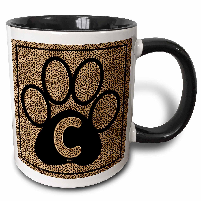 Two Tone Black Mug 11 oz Multicolored 3dRose 25936/_4 Letter C Standard Cheetah Print Cat Paw