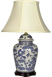 UK's LARGEST RANGE OF ORIENTAL LAMPS - Large Oriental Ceramic ...:UK's LARGEST RANGE OF PORCELAIN LAMPS - Large Blue Oriental Ceramic Table  Lamp (M7398),Lighting