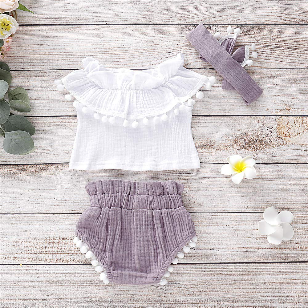 Mikrdoo 3PCS Baby Girl Clothes Off Shoulder Ruffled Tank Tops Bloomer Shorts Summer Outfits with Headband