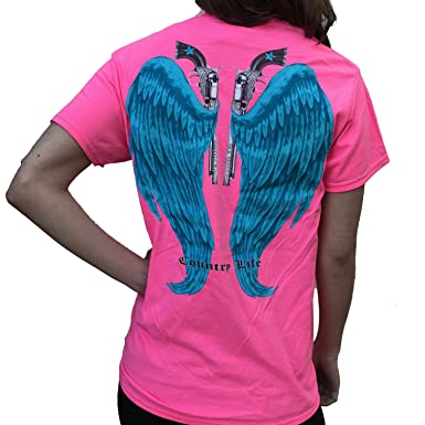 e6942783 Country Life Guns and Angel Wings Pink and Blue Short Sleeve Shirt (Small)