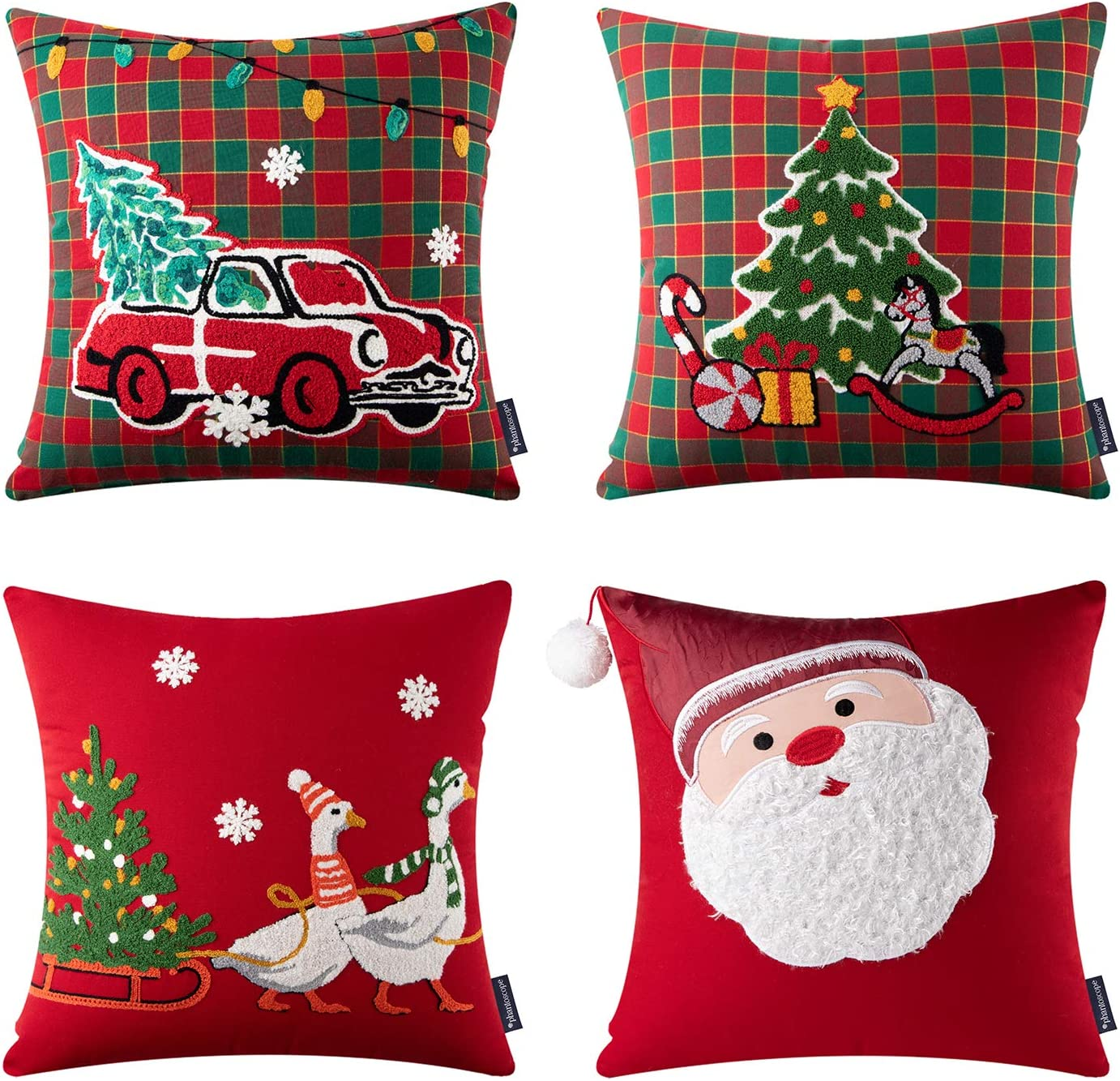 Embroidered Santa, Tree, Car and Reindeer Christmas Pillow Covers