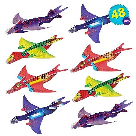 THE TWIDDLERS 48 Aviones planeadores de Dinosaurios - 4 diseños Distintos Detalles de Fiesta, Rellenos de Bolsas de Fiesta, premios de Clase, Rellenos ...