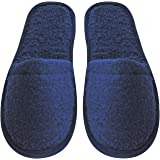 Arus Women's Turkish Terry Cotton Cloth Spa Slippers One Size Fits Most, Navy Blue with Black Sole