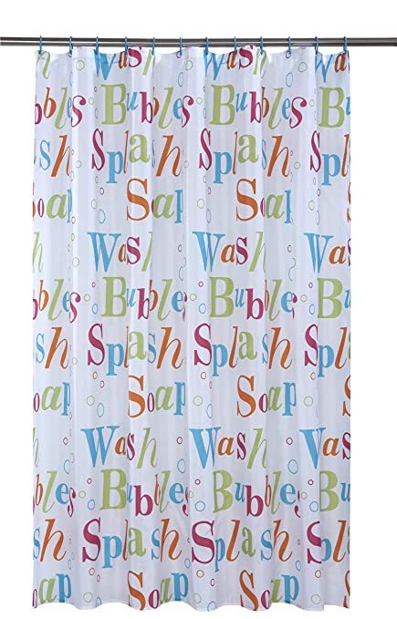 Vibrant Splash Multi Coloured On A White Background Polyester Shower Curtain Including 12 Blue