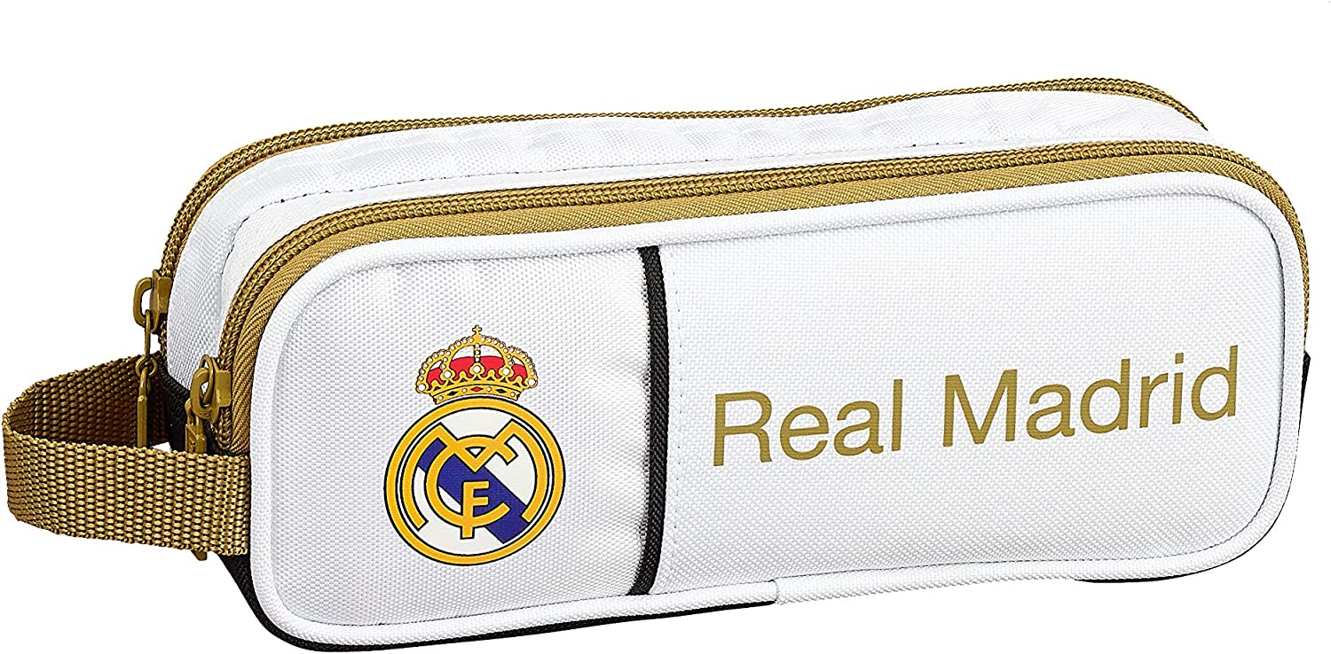 Real Madrid CF Estuche portatodo Doble 2 Cremalleras Escolar: Amazon.es: Equipaje