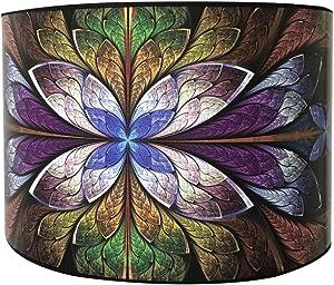 Royal Designs Modern Trendy Decorative Handmade Lamp Shade - Made in USA - Purple Flower Design -10 x 10 x 8