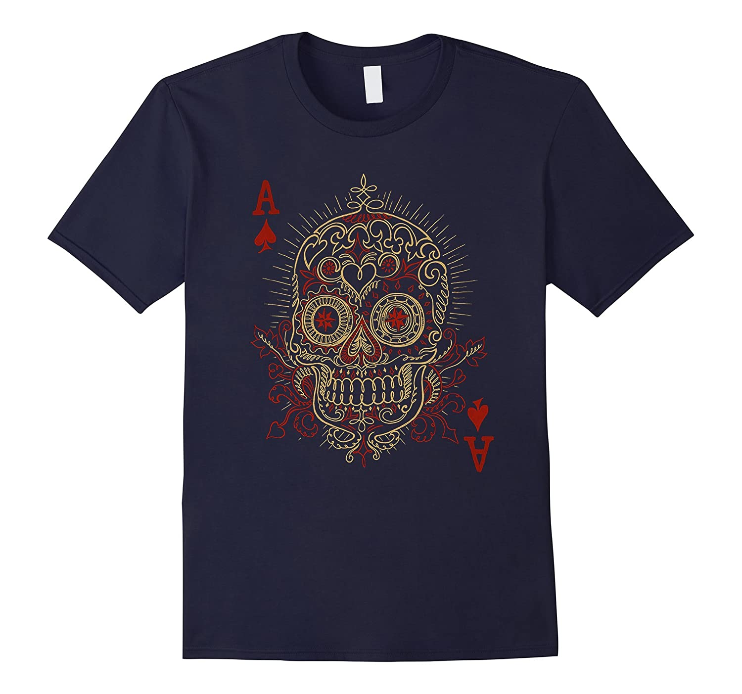 Ace Of Spades Skull Gambling Poker T-Shirt-RT