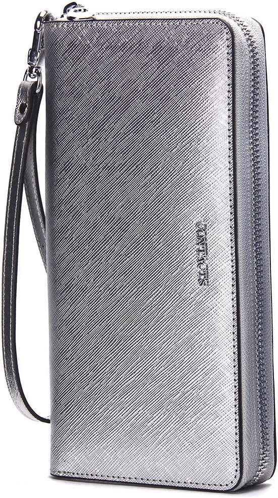 Contacts Genuine Leather Women Card Coin Clutch Phone Purse Zipper Wallet Silver