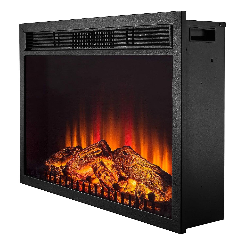 "Amazon.com: Golden Vantage 30"" Black Insert Freestanding 1 Settings Logs  Electric Fireplace Heater w/ Remote: Home & Kitchen"