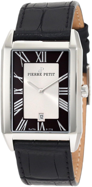 Pierre Petit P-778A - Reloj analógico de Cuarzo para Hombre con Correa de Piel, Color Negro
