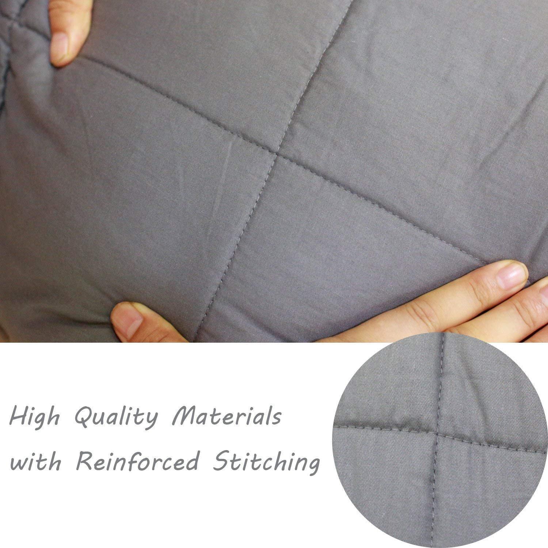 Esee Home Weighted Blanket Suave 100% algodón con Cuentas de Vidrio Great Sleep Therapy para Personas con ansiedad Autismo TDAH Insomnio o estrés Manta con ...