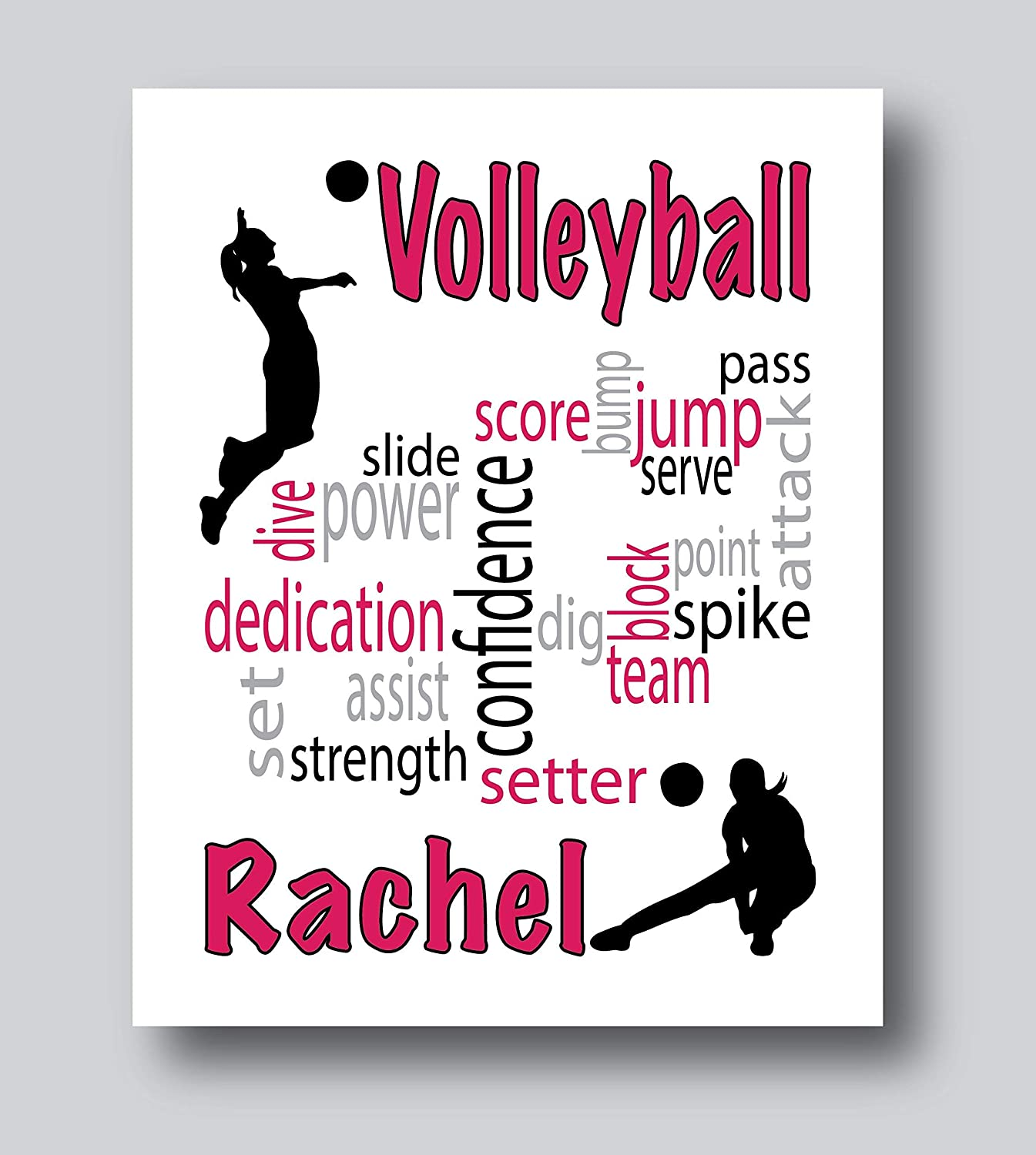 Personalized Volleyball Gifts For Girls Volleyball Decorations For Bedroom 8x10 Or 11x14 Volleyball Print Only Personalized Volleyball Gifts For