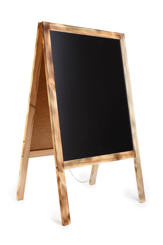 Kundenstopper Holz Tafel Werbung Kreidetafel Aufsteller Werbetafel Holztafel Werbeaufsteller Straßenständer Gehsteig Holztafel A-Tafel - BURN FL2