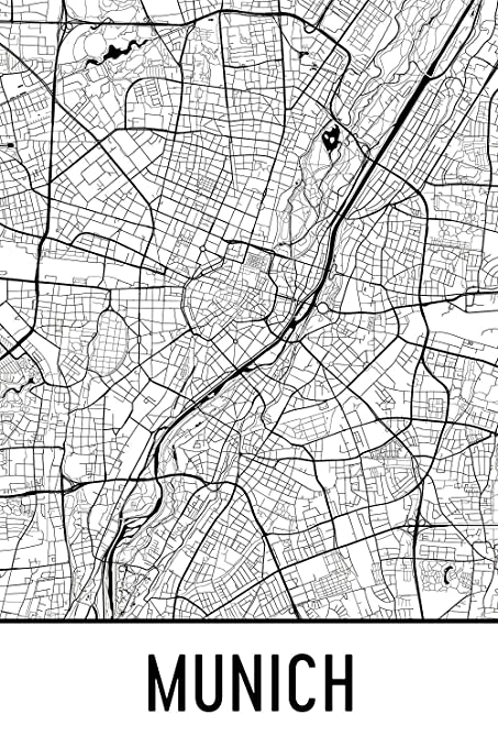 Map Of Germany Showing Munich.Amazon Com Munich Print Munich Art Munich Map Munich Germany