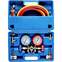 OrionMotorTech 3 Way AC Diagnostic Manifold Gauge Set for Freon Charging, Fits R134A R12 R22 and R502 Refrigerants, with 5FT Hose, Acme… photo