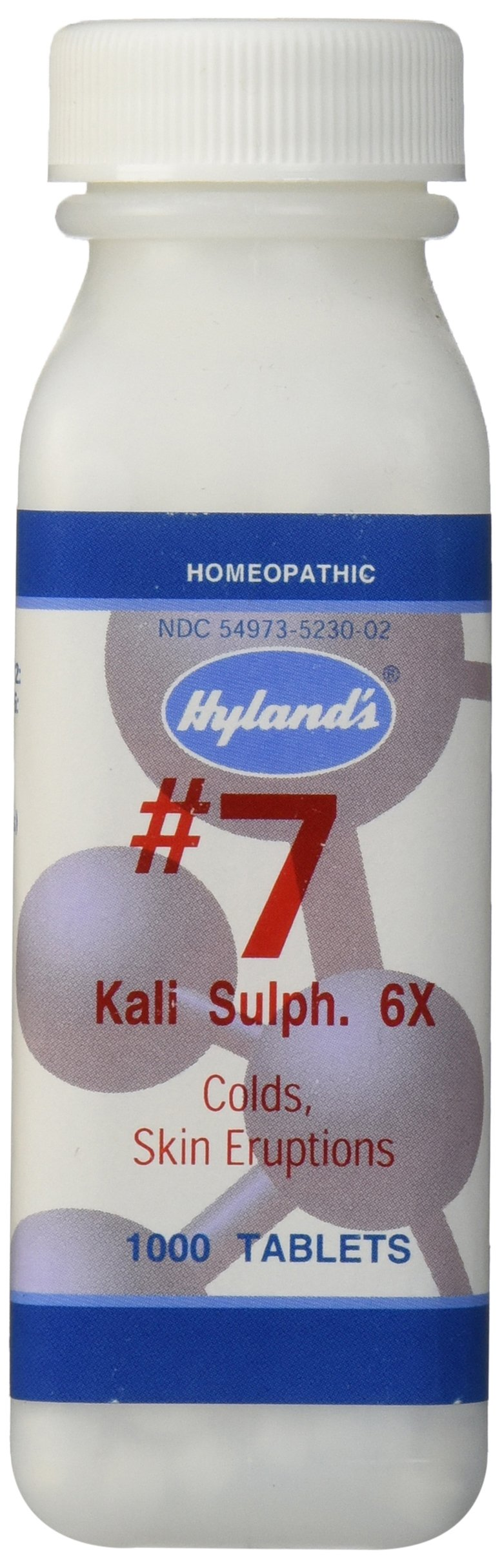 Hyland's Cell Salts #7 Kali Sulphuricum 6X Tablets, Natural Homeopathic Relief of Colds and Skin Eruptions, 1000 Count