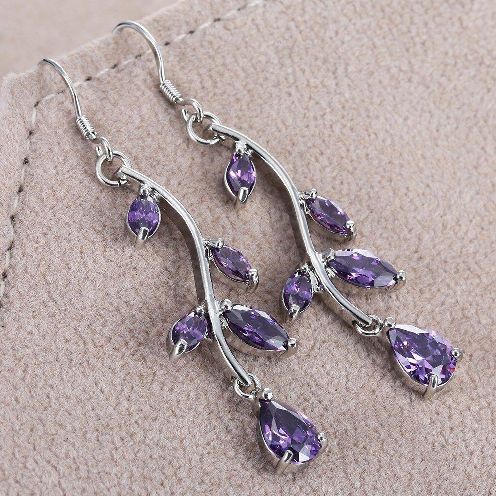 Ginger Lyne Collection Tulip Purple Dangle CZ Earrings
