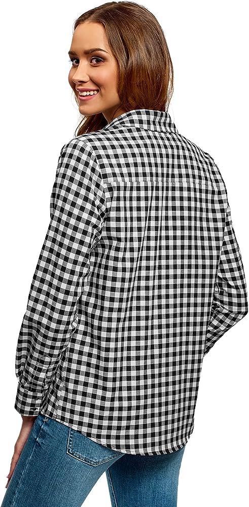 oodji Ultra Mujer Camisa Ancha con Longitud Regulable de Manga, Negro, ES 34 / XXS: Amazon.es: Ropa y accesorios