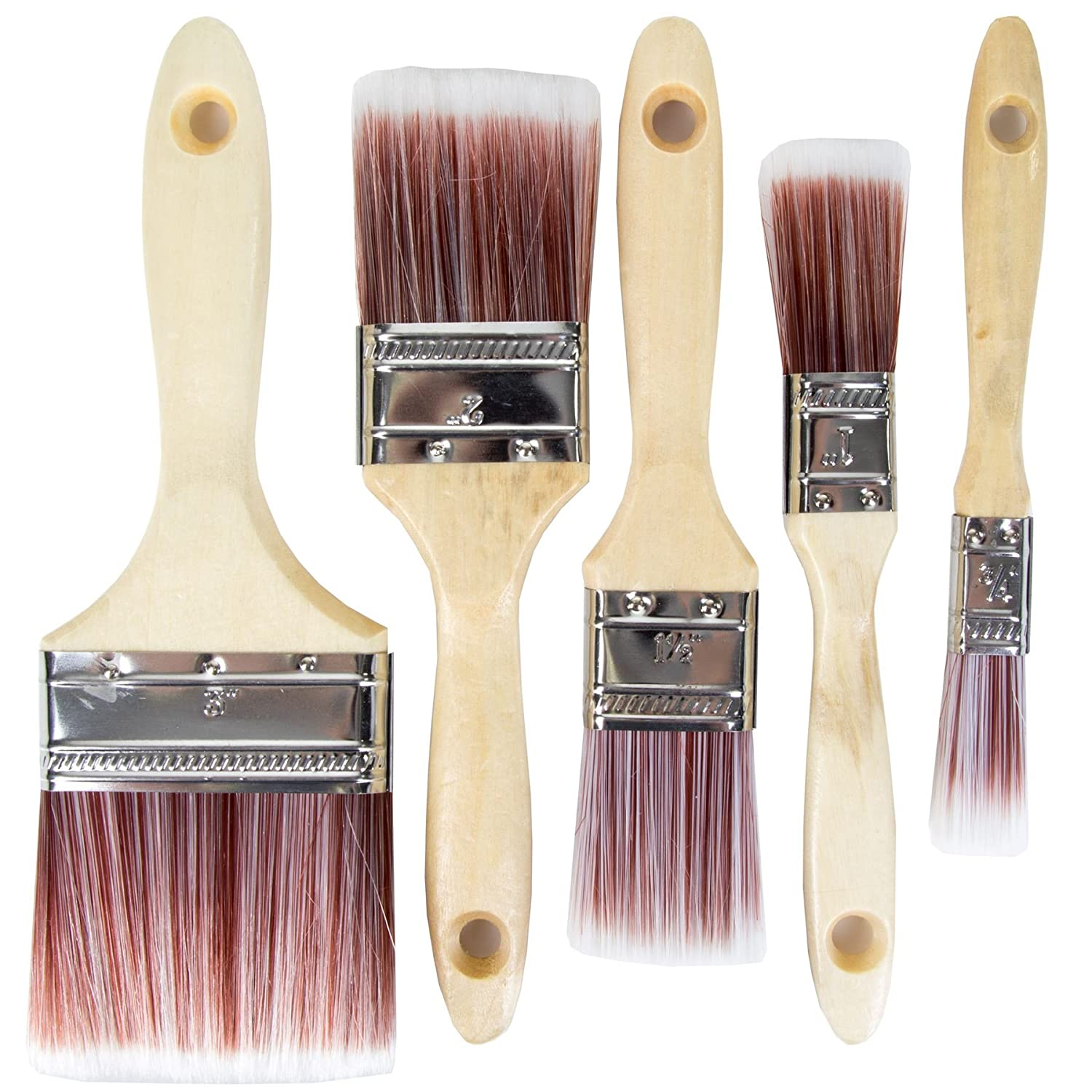 Professional Quality Synthetic Paint Brush Set With Detailing & Wide Brush 19-75mm (Pack Of 5 Brushes) White Hinge