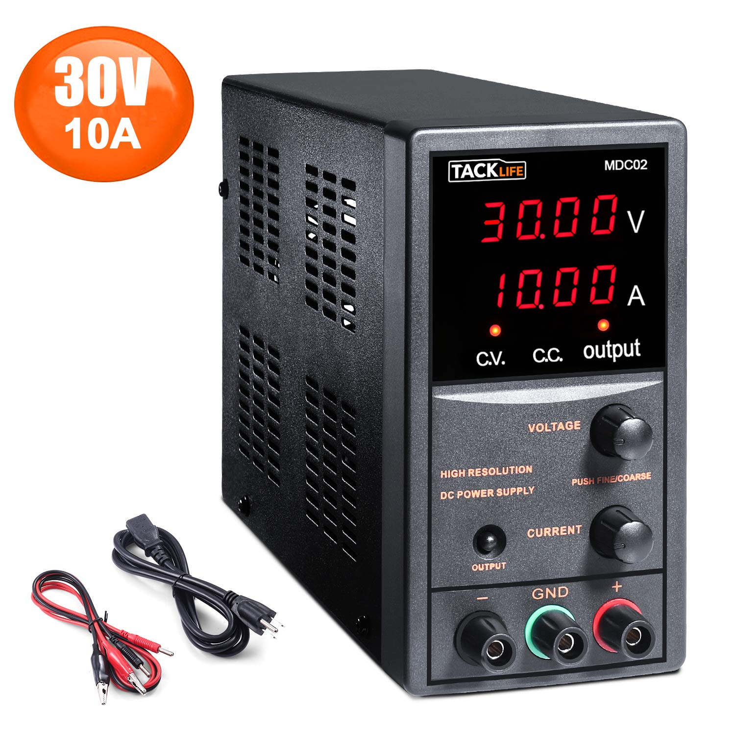 DC Power Supply Variable, Adjustable Switching Regulated Power Supply 30V 10A with Course and Fine Adjustments, 4-Digits Display, Data Hold - 115CM Alligator Leads Included MDC02