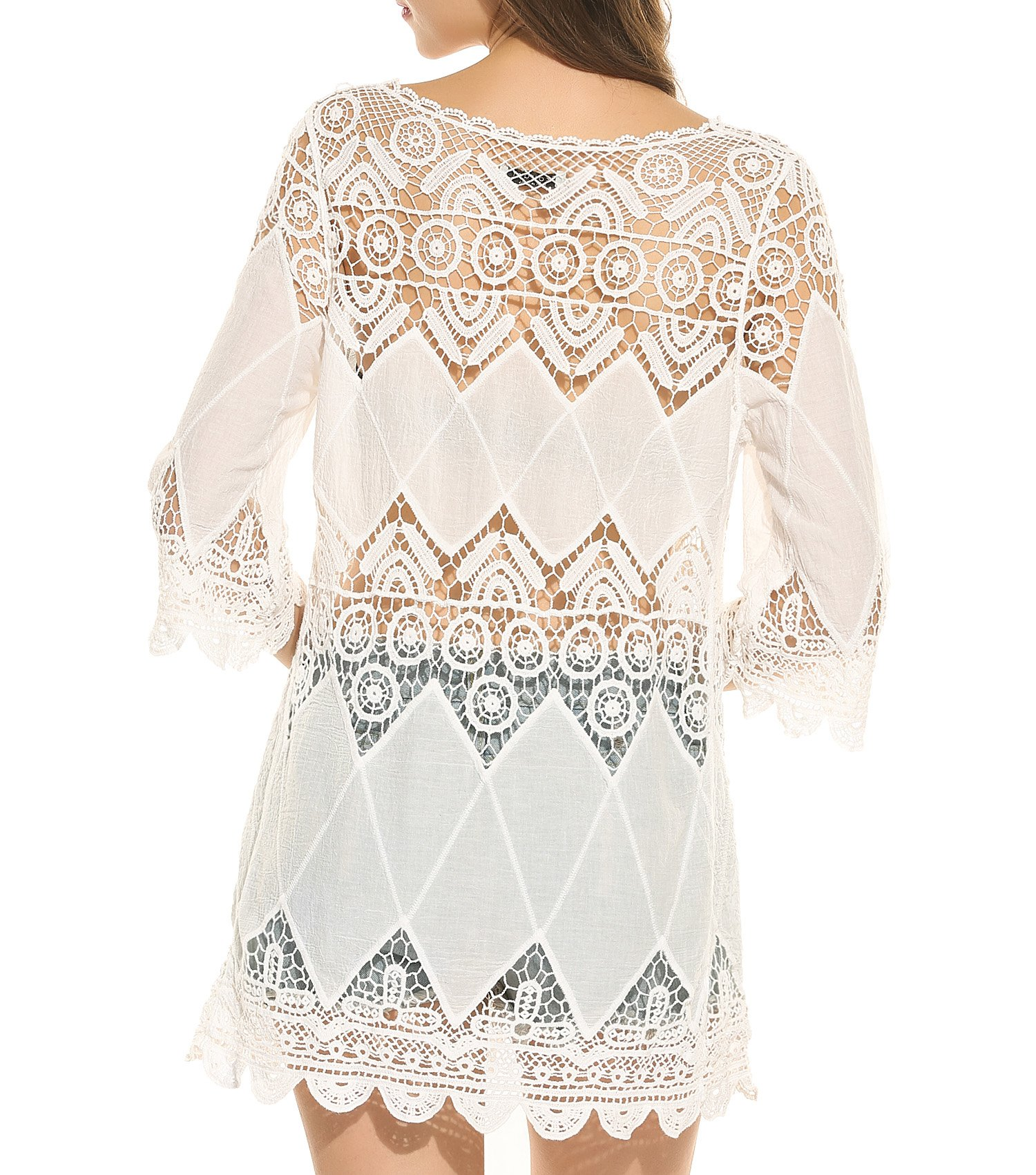 Ekouaer Cover Ups Women's Beach Dress Crochet Tunic Cover Up