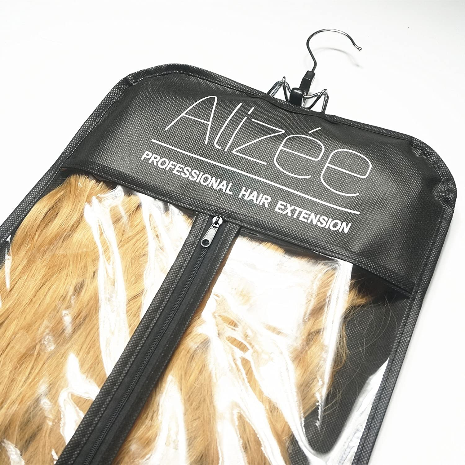 Alize Professional Hair Extension Carrier Nonwoven Suit Case Bag With Black Wooden Hanger For
