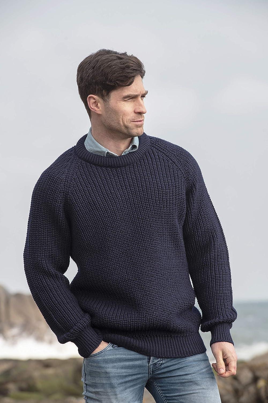 Aran Crafts Mens Fisherman Irish Rib Crew Neck Sweater 100/% Pure New Wool