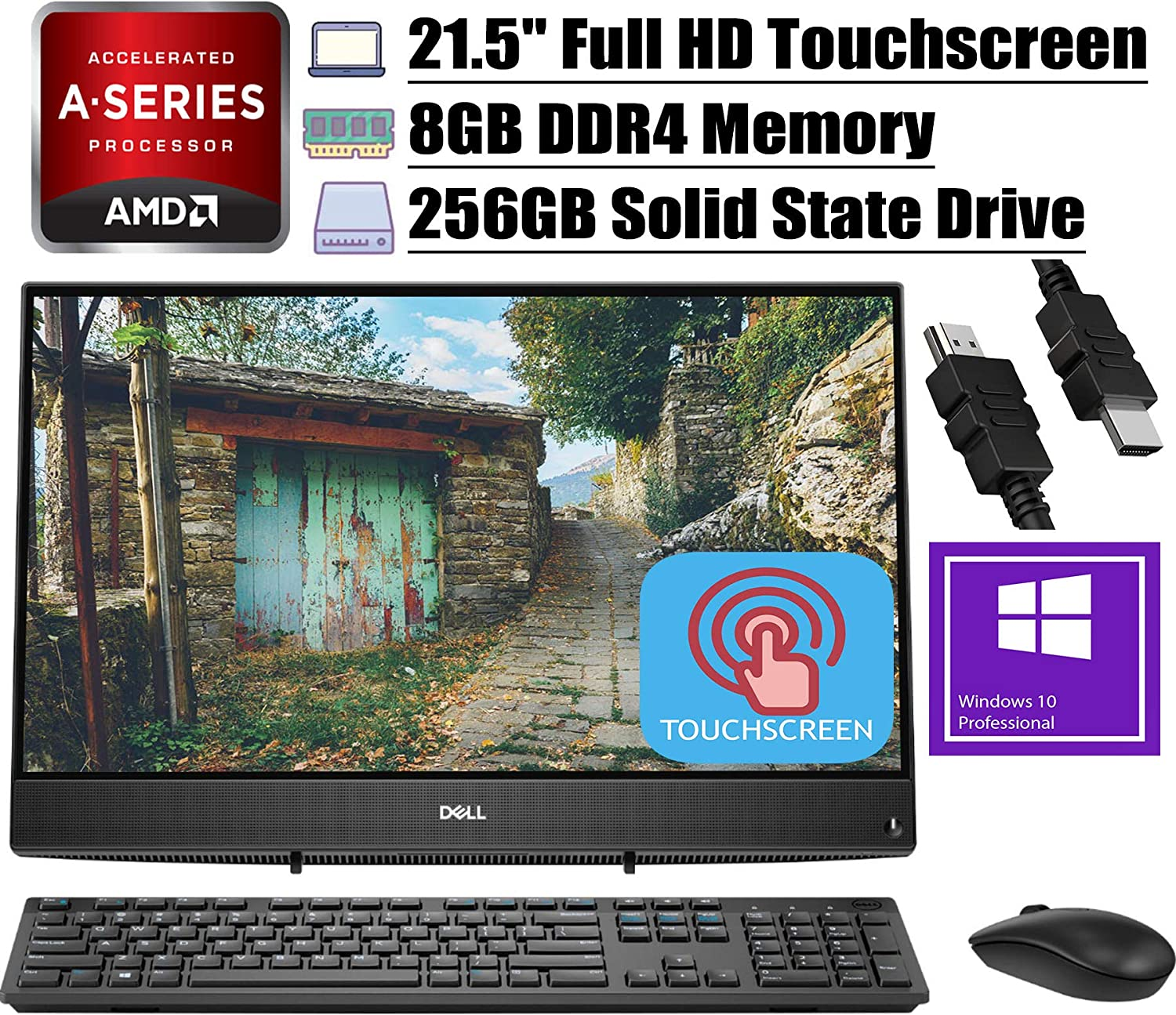 "2020 Latest Dell Inspiron 22 3000 All in one Desktop Computer AMD Core A6-9225 21.5"" FHD Touchscreen 8GB DDR4 256GB SSD Keyboard Mouse AMD Radeon Graphics HDMI WiFi Win 10 Pro + iCarp HDMI Cable"