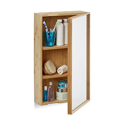 Relaxdays Armoire de salle de bain avec miroir en bambou étagère meuble  rangement, nature