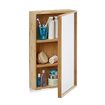 Relaxdays Bad Spiegelschrank aus Bambus, eintüriger ...