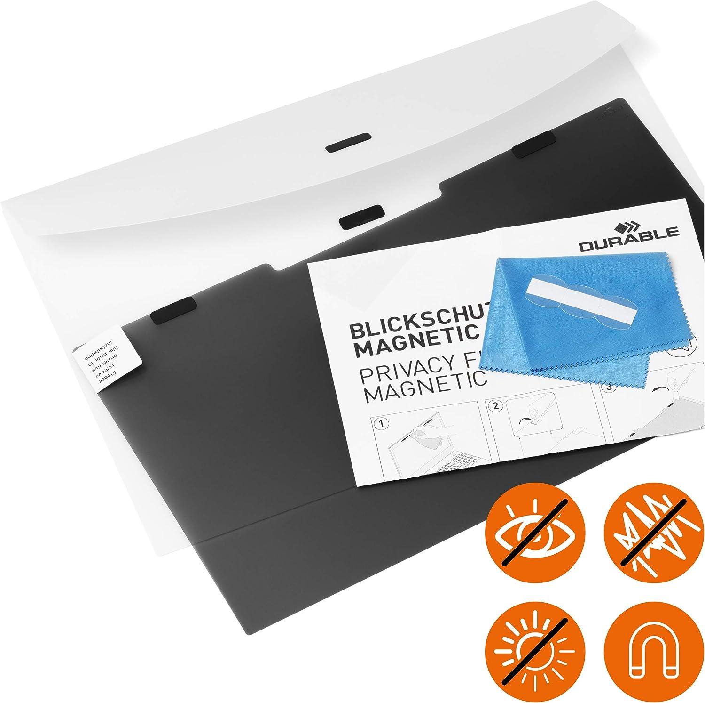 """inkl Durable Blickschutzfilter magnetisch f/ür 15,6/"""" Zoll Bildschirme Tasche und Reinigungstuch anthrazit 514657"""