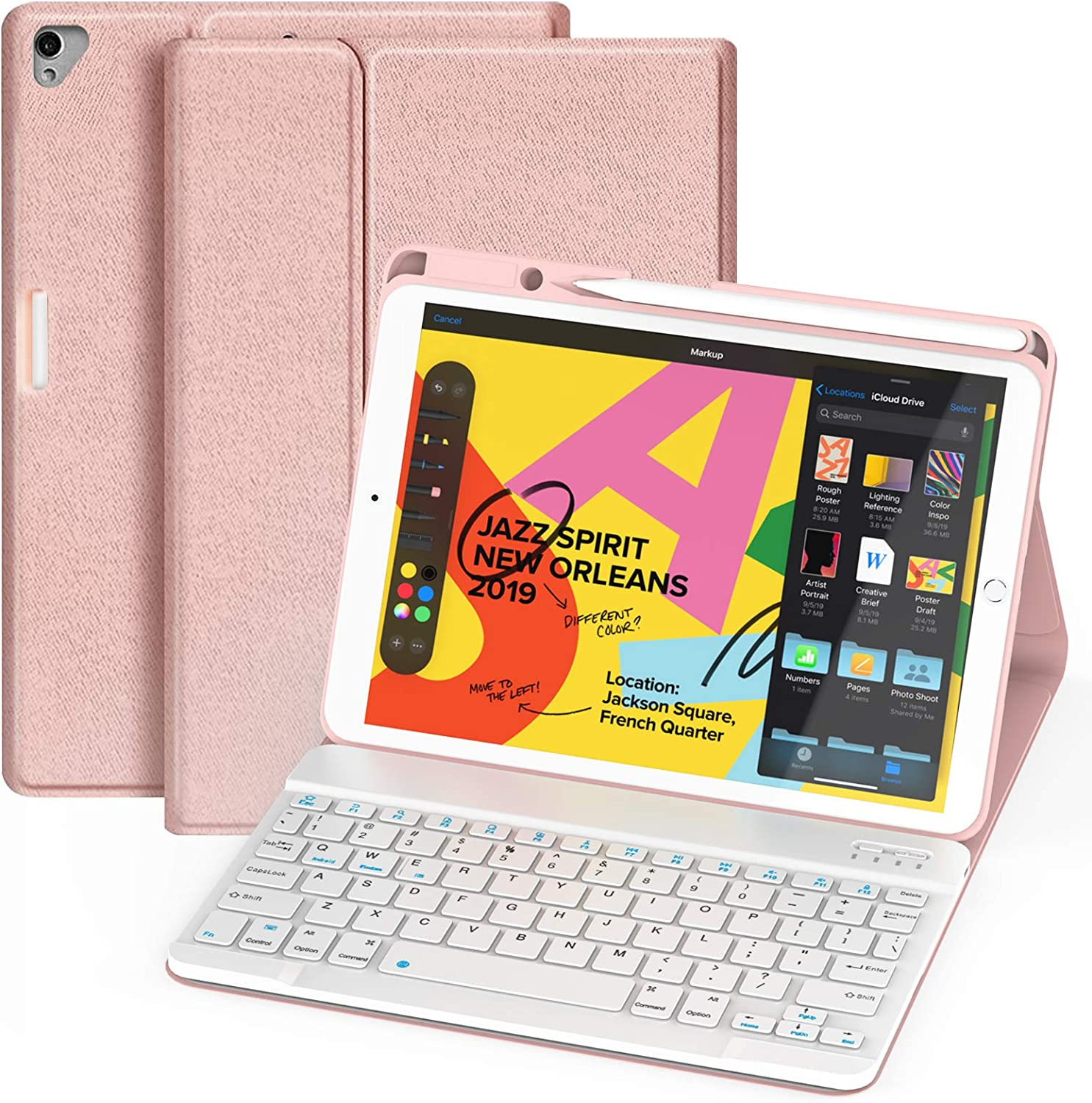 Maxfree iPad Case with Keyboard 8th/7th Gen 10.2, iPad Pro 10.5/Air 3rd Gen 2019 2017, Detachable Wireless/BT Keyboard, Upgraded Upper Pencil Holder, Folio Smart Cover for iPad 10.2/10.5 Inch