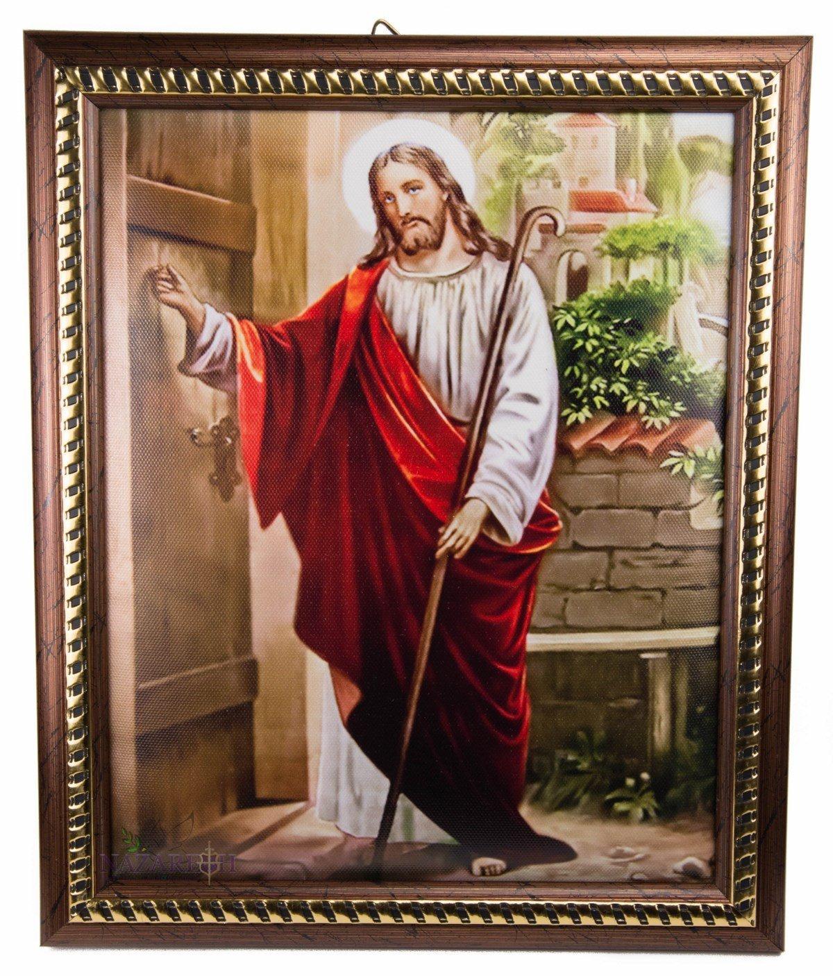 /Único Jes/ús llamando a la puerta placa acolchada pared cuadro santo tierra 11,4