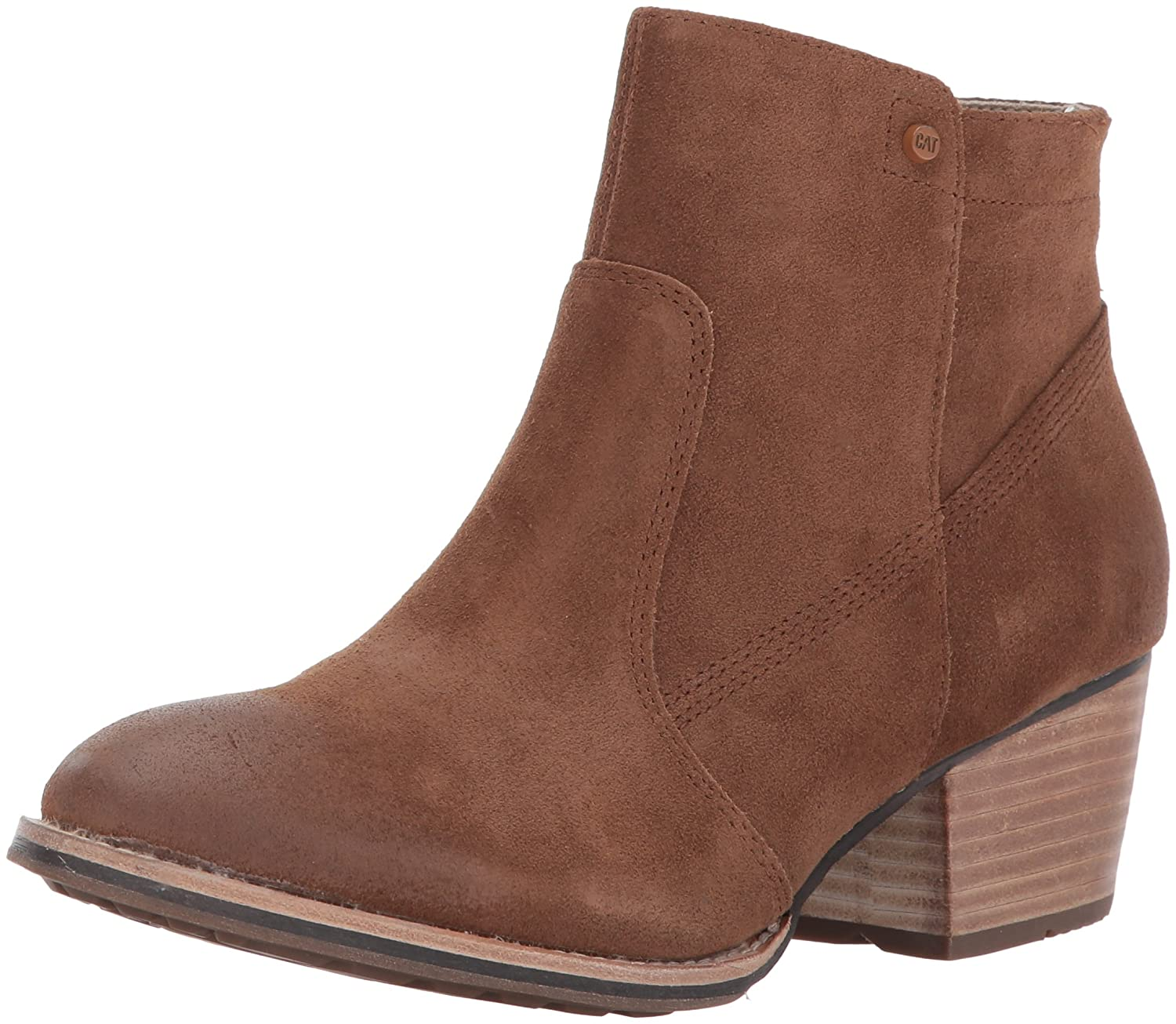 Caterpillar Women's Cider Side Zip Bootie with Stacked Heel Ankle Boot B01N2TO6TF 5 B(M) US|Brown